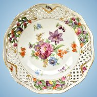 Schumann Bavaria Germany Early Dresden Line Flowered 8-Inch Bowl with Pierced Rim