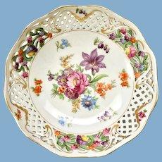 Schumann Bavaria Germany Early Dresden Line Flowered 8-Inch Bowl with Pierced Rim