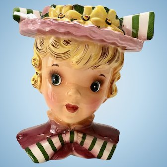 Enesco Head Vase Young Girl Blonde Big Eyes Hat with Wide Striped Bow