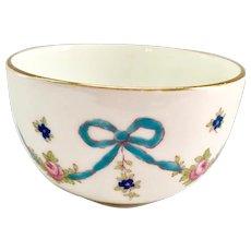 Crown Staffordshire England Blue Bow #F4547 Bone China Open Sugar Bowl Pink Roses