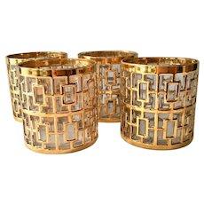 Imperial Glass Golden Shoji #104 Hollywood Regency Style 22K-Gold Cocktail Glasses Set of Four