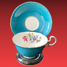 Aynsley England Bone China C332 Turquoise Teacup and Saucer Floral Interior