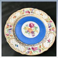 Schumann Bavaria Empress Dresden Flowers Plate with Blue Band