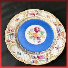 Schumann Bavaria Empress Dresden Flowers Plate with Blue Band
