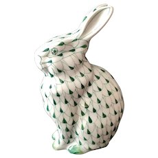 Andrea by Sadek Hand Painted Green Fishnet Sitting Bunny Figurine