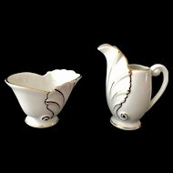 Schumann Bavaria Acanthus Leaf Shape White and Gold Creamer and Sugar