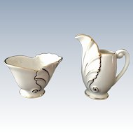 Schumann Bavaria Acanthus Leaf Shape White and Gold Creamer and Sugar