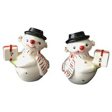Holt Howard Christmas Snowmen Spaghetti Earmuffs Salt and Pepper Shakers