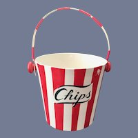 Country Club by Yona for Shafford Red and White Striped Chips Basket