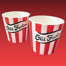 Country Club By Yona for Shafford Red and White Striped Old Fashion Tumblers Set of Two