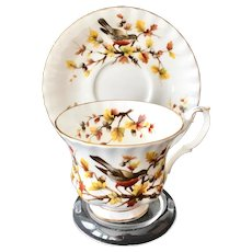 Royal Albert Woodland Series Robin Bone China Teacup and Saucer