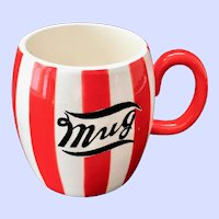 Country Club By Yona for Shafford Red and White Striped Pottery Mug
