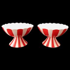 Country Club By Yona for Shafford Red and White Striped Sherbets Set of Two