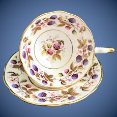 Royal Stafford Golden Bramble Bone China Footed Teacup and Saucer Berries and Gold Leaves