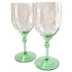 Heisey Elegant Glass King Arthur #3357 Water Goblets Diamond Optic Moongleam Green Stem Set of Two