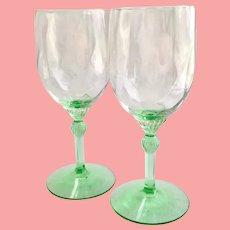 Heisey Elegant Glass King Arthur #3357 Water Goblets Diamond Optic Moongleam Green Stem Set of Two