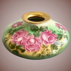 Limoges France Hand Painted Roses Squat Vase Tressemann & Vogt Signed by Factory Artist Roby