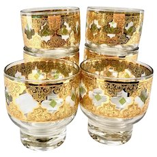 Culver Valencia MCM 22-Karat Gold Footed Cocktails or Rocks Tumblers - Set of Six