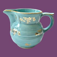 Turquoise Blue Pearl China Milk Pitcher/Large Creamer Hand Decorated 22-Karat Gold