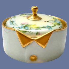 Hand Painted Forget-Me-Nots Blue Porcelain Collar Button Box RS Germany