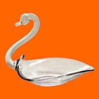 Duncan Miller Clear Glass Open Back Swan Dish