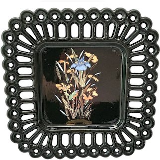 Westmoreland Square Peg Lace Edge Hand Painted black glass Salad plate