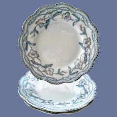 The Lothair Dinner Plates Blue with Gold Trim Johnson Brothers England Set of Four