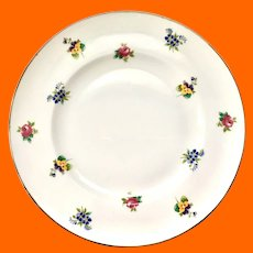 Crown Staffordshire Bone China Rose Pansy Floral Luncheon Plate