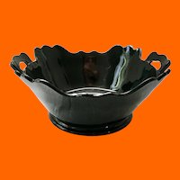 Mt. Pleasant Double-handled Squared Black Amethyst Glass 8-inch Salad Bowl LE Smith