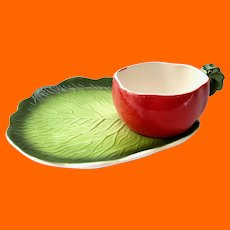 Set of Four Holt Howard Lettuce Tomato Soup and Sandwich Snack Sets Cups Plates