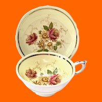 Paragon Bone China G7666/2 Yellow Rose Floral Double Warrant Teacup and Saucer