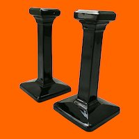 Cambridge Ebony Black Glass No. 2889 6-1/4 Inch Pair Square Pillar Candlesticks