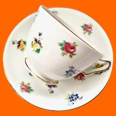 Crown Staffordshire Bone China Rose Pansy Floral Footed Teacup and Saucer