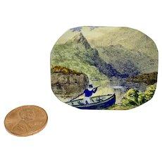 Antique miniature watercolor of boat in landscape