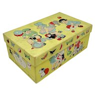 Child's shoe box with images of dolls and toys