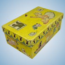 Toddler shoe box with images of dolls and toys