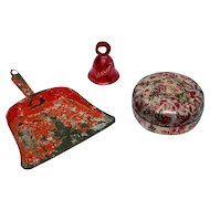 Red dust pan, box, and bell