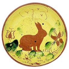 Breininger glazed Redware pie plate with Bunny Rabbit