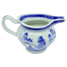 Blue and white Canton pitcher