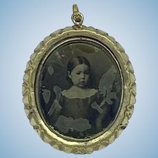 Antique framed photograph - portrait of a child