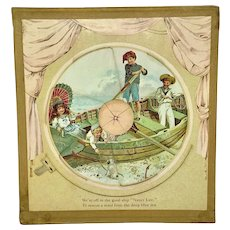 Pull-tab movable nursery picture - children playing in boat