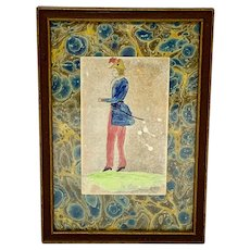 Antique framed watercolor of a soldier