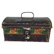 Painted tole dome top document box with handle