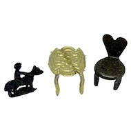 Teeny tiny antique metal dollhouse accessories