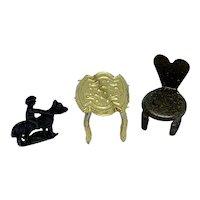 Teeny tiny metal dollhouse accessories