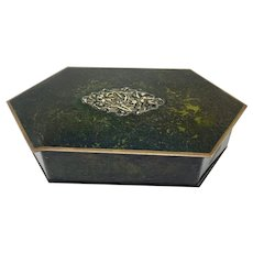 Danish bronze lidded trinket box with lined interior