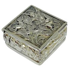 Miniature sterling box with repousse calla lily flowers