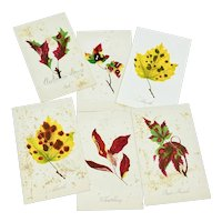 Set of six Louis Prang fall leaf cards - first group