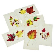 Set of six Louis Prang fall leaf cards - second group