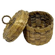 Miniature Native American lidded basket with round handle